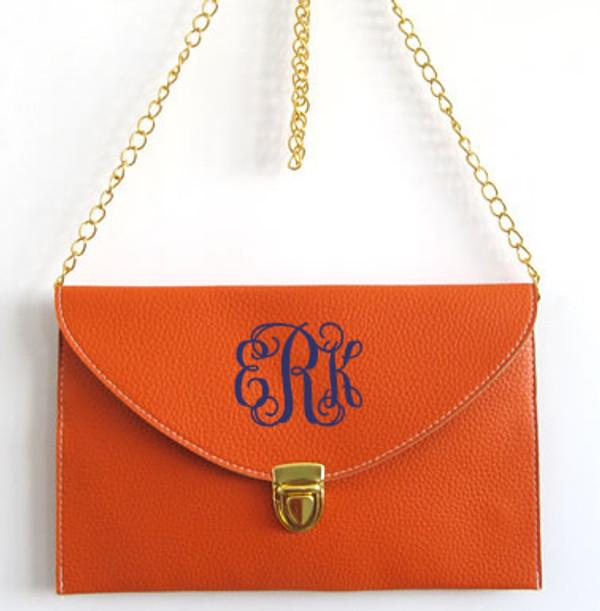 Monogrammed Envelope Latch Clutch Cross Body Purse  www.tinytulip.com Orange with Navy Interlocking Font
