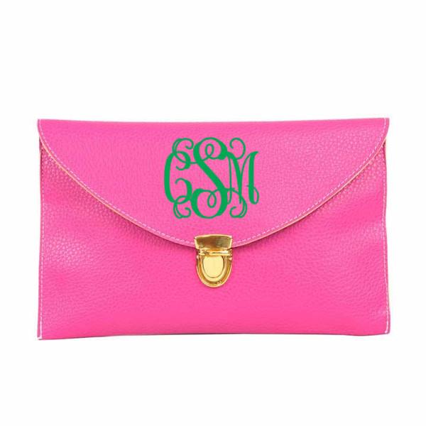 Monogrammed Envelope Latch Clutch Cross Body Purse  www.tinytulip.com Hot Pink with Interlocking Kelly Green Font