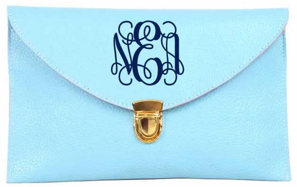 Monogrammed Envelope Latch Clutch Cross Body Purse  www.tinytulip.com Blue with Interlocking Navy Font