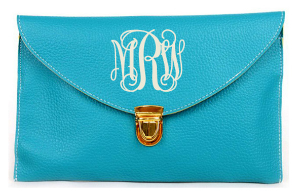 Monogrammed Envelope Latch Clutch Cross Body Purse  www.tinytulip.com Turquoise with Interlocking Cream Font
