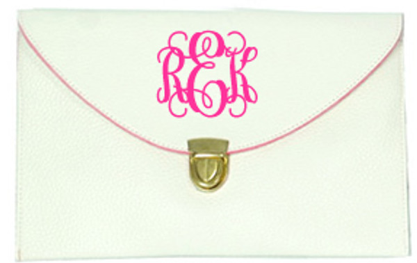 Monogrammed Envelope Latch Clutch Cross Body Purse  www.tinytulip.com White with Interlocking Hot Pink Font
