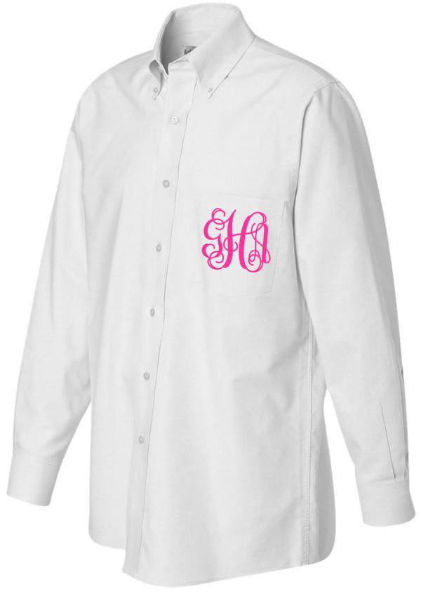 Monogrammed Oversized Bridesmaid Shirt   www.tinytulip.com Hot Pink Interlocking Font
