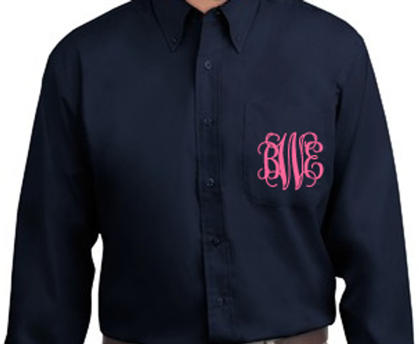 Monogrammed Oversized Bridesmaid Shirt   www.tinytulip.com Navy with Coral Interlocking Font