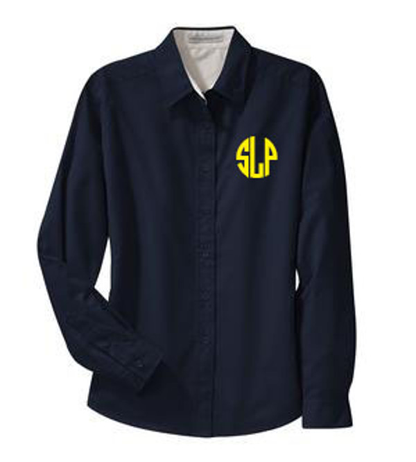 Monogrammed Oversized Bridesmaid Shirt   www.tinytulip.com Navy with Yellow Circle Font