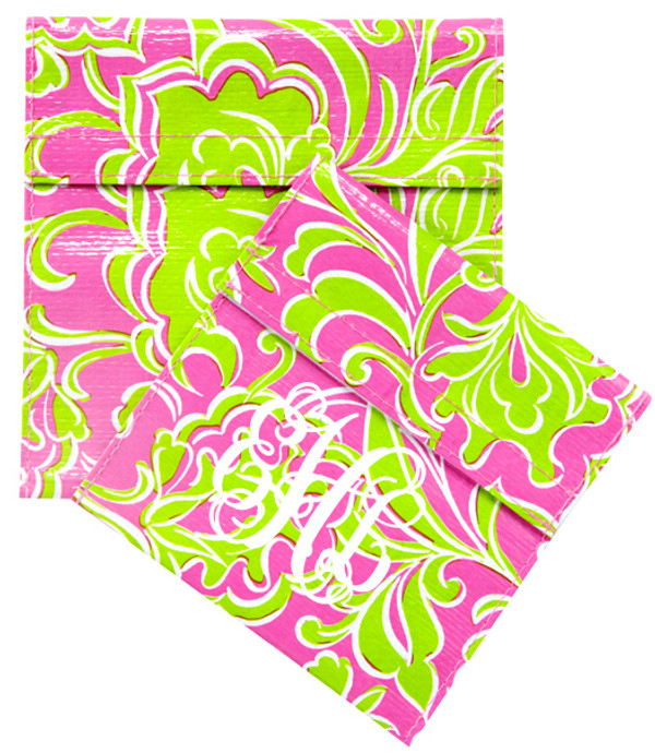 Pink and Green Preppy Monogrammed Reusable Foodies Lunch Sandwich Snack Bags www.tinytulip.com White Interlocking Font