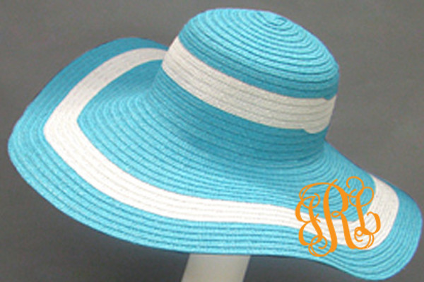 Monogrammed Summer Cabana Floppy Beach Hat  www.tinytulip.com Turquoise with Orange Interlocking Font