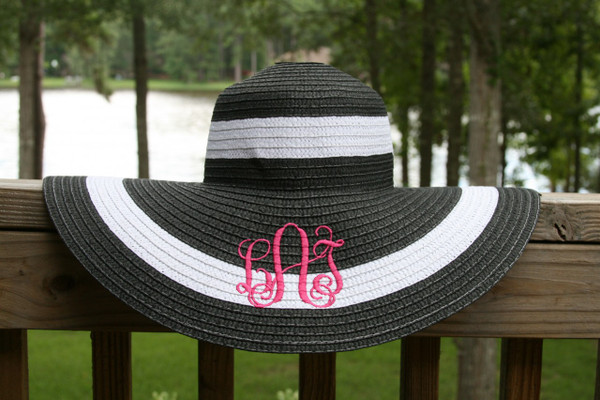 Monogrammed Summer Cabana Floppy Beach Hat  www.tinytulip.com Black with Hot Pink Interlocking Font