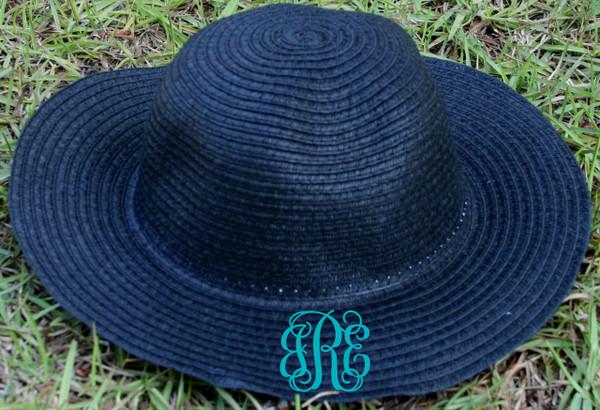 Girls Monogrammed Beach Straw Hat  www.tinytulip.com Black with Turquoise Interlocking Font