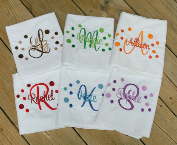 Monogrammed Polka Dot Pillowcase www.tinytulip.com