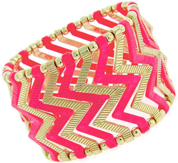 Fashion Stretch Chevron Bracelet www.tinytulip.com Hot Pink