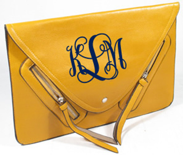 Monogrammed Envelope Zipper Clutch  www.tinytulip.com Mustard Clutch with Navy Interlocking Monogram