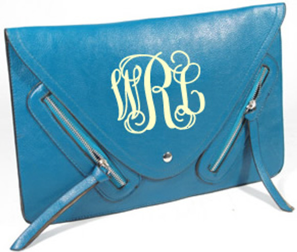 Monogrammed Envelope Zipper Clutch  www.tinytulip.com Turquoise Clutch with Cream Interlocking Monogram
