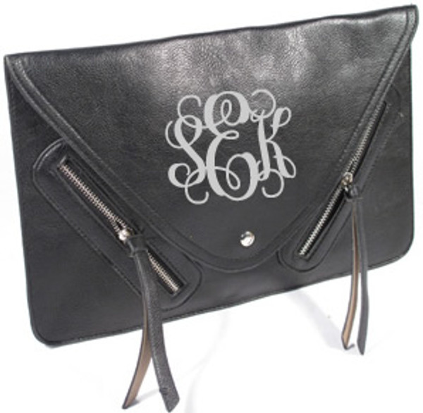 Monogrammed Envelope Zipper Clutch  www.tinytulip.com Black Clutch with Gray Interlocking Monogram