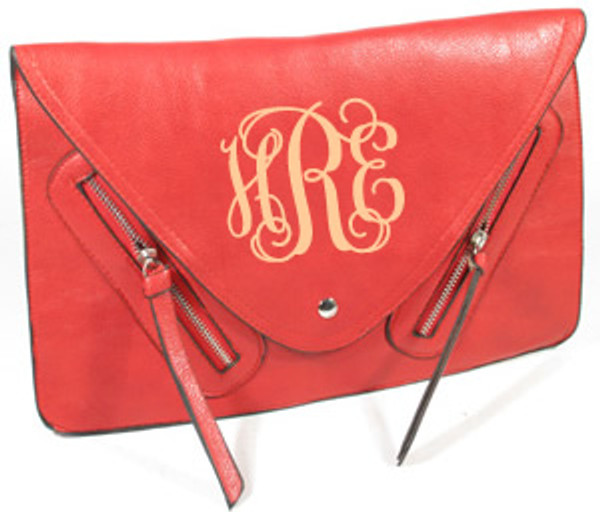 Monogrammed Envelope Zipper Clutch  www.tinytulip.com Red Clutch with Cream Interlocking Monogram
