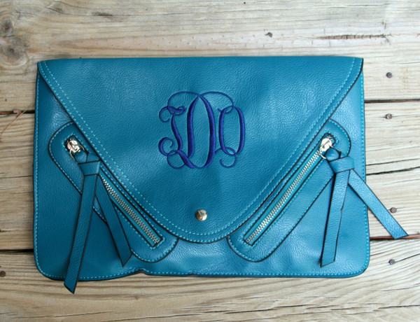 Monogrammed Envelope Zipper Clutch  www.tinytulip.com Turquoise with Navy Interlocking Monogram