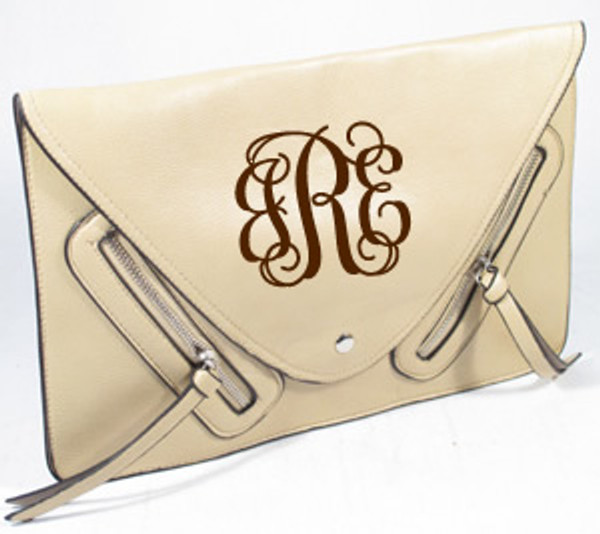 Monogrammed Envelope Zipper Clutch  www.tinytulip.com Beige with Brown Interlocking Monogram