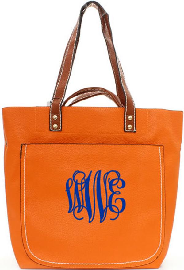 Monogrammed Shelby Shoulder Tote Purse  www.tinytulip.com Orange with Royal Blue Interlocking Font