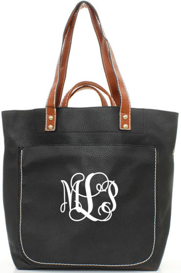 Monogrammed Shelby Shoulder Tote Purse  www.tinytulip.com Black with White Interlocking Font