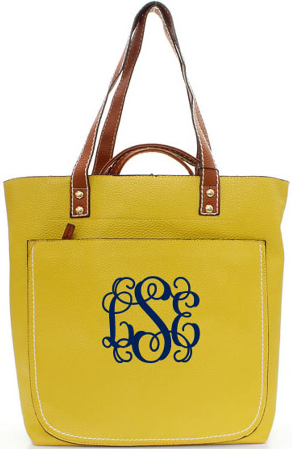 Monogrammed Shelby Shoulder Tote Purse  www.tinytulip.com Mustard with Navy Interlocking Font