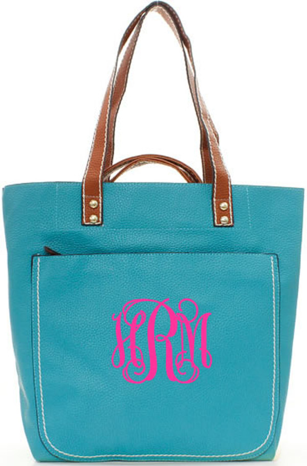 Monogrammed Shelby Shoulder Tote Purse  www.tinytulip.com Turquoise with Hot Pink Interlocking Font