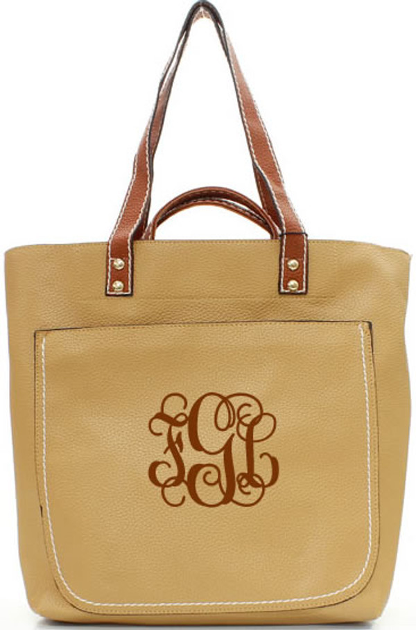 Monogrammed Shelby Shoulder Tote Purse  www.tinytulip.com Brown with Brown Interlocking Font
