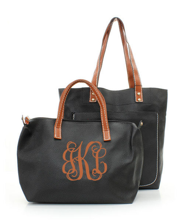 Monogrammed Shelby Shoulder Tote Purse  www.tinytulip.com Black with Brown Interlocking Font Second Bag Monogrammed