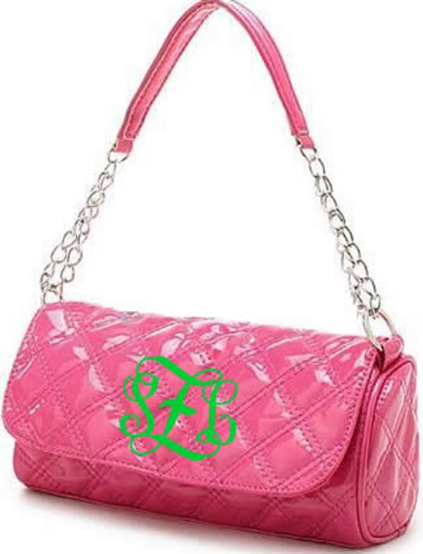 Monogrammed Grace Shoulder Bag  www.tinytulip.com Hot Pink with Lime Green Interlocking Font