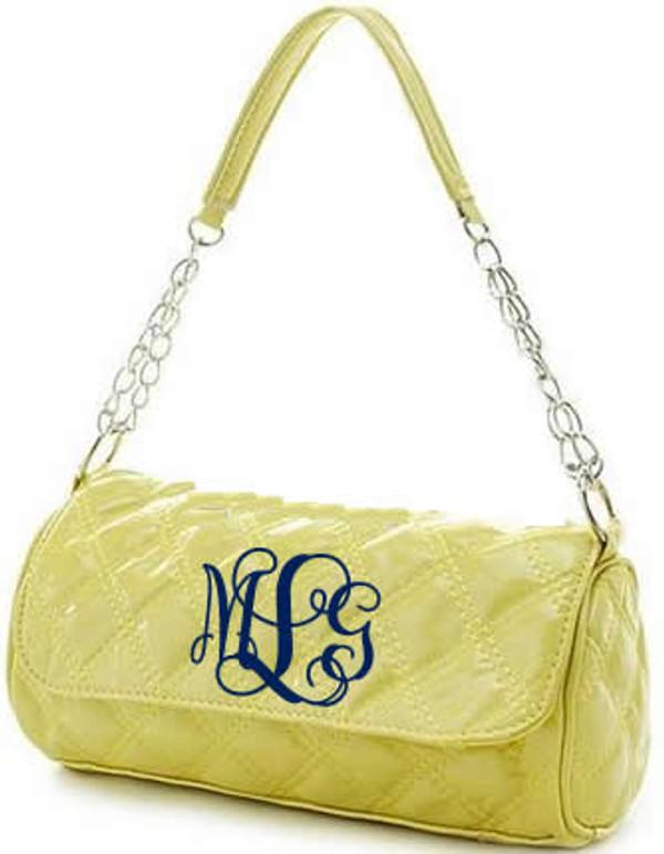 Monogrammed Grace Shoulder Bag  www.tinytulip.com Yellow with Navy Interlocking Font