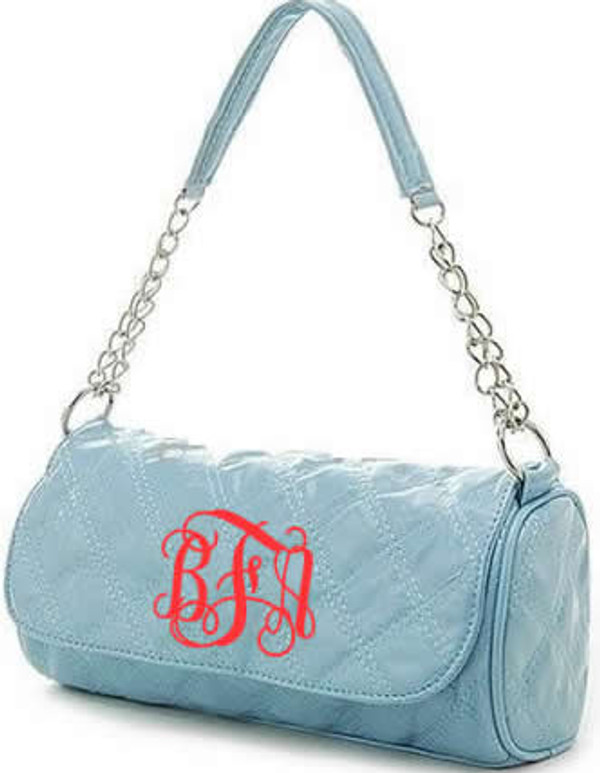 Monogrammed Grace Shoulder Bag  www.tinytulip.com Light Blue with Red Interlocking Font