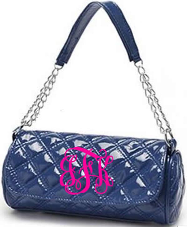 Monogrammed Grace Shoulder Bag  www.tinytulip.com Navy with Hot Pink Interlocking Font