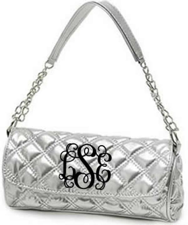 Monogrammed Grace Shoulder Bag  www.tinytulip.com Silver with Black Interlocking Font