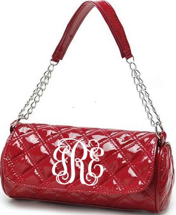 Monogrammed Grace Shoulder Bag  www.tinytulip.com Red with White Interlocking Font