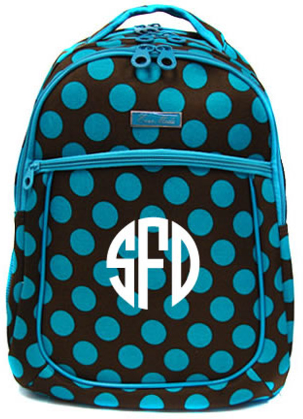 Polka Dot Monogrammed Large Computer Backpack   www.tinytulip.com Turquoise & Brown with White Circle Monogram