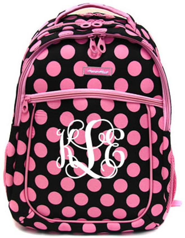 Polka Dot Monogrammed Large Computer Backpack   www.tinytulip.com Pink & Black with White Interlocking Monogram