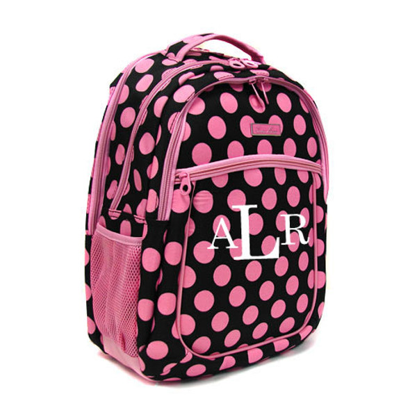 Polka Dot Monogrammed Large Computer Backpack   www.tinytulip.com Pink & Black with White Romana Monogram