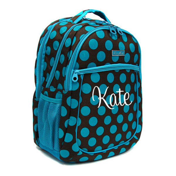 Polka Dot Monogrammed Large Computer Backpack   www.tinytulip.com Turquoise & Brown with White Cursive Monogram