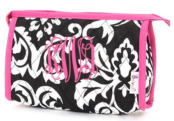 Quilted Damask Monogrammed Small Cosmetic Bag  www.tinytulip.com Preppy Pink Trim with Preppy Pink Interlocking Monogram