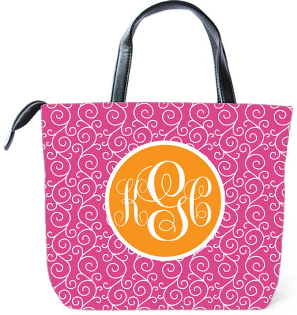 Customized Monogram Bag  www.tinytulip.com Hot Pink Swirls Pattern with Solid Circle Orange Emma Script Font