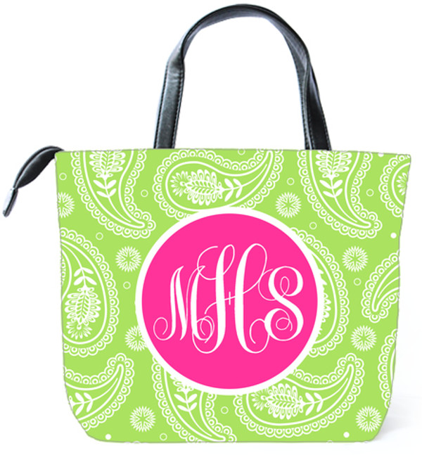 Customized Monogram Bag  www.tinytulip.com Lime Green Paisley Pattern with Solid Circle Hot Pink Emma Script Font