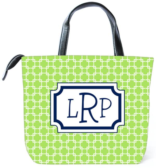 Customized Monogram Bag  www.tinytulip.com Lime Green Swirls Pattern with Classic Frame Navy Blake Font