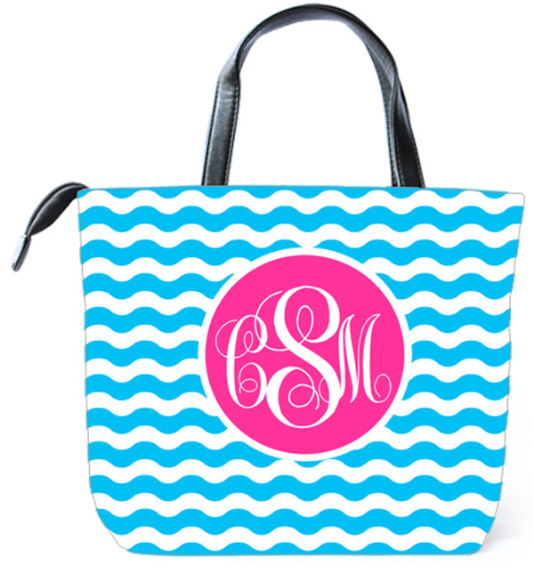 Customized Monogram Bag  www.tinytulip.com Turquoise Waves Pattern with Solid Circle Hot Pink Emma Script Font