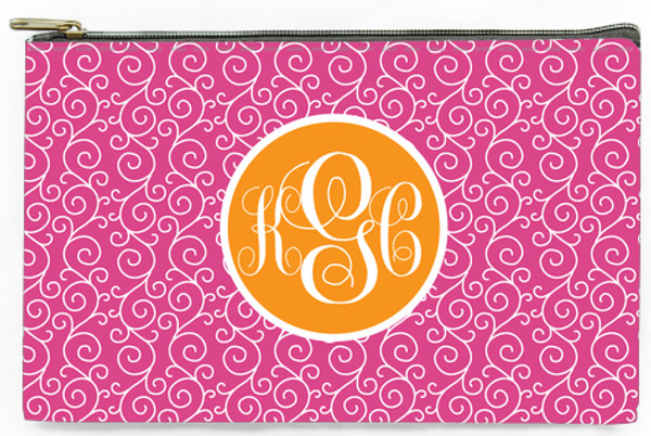 Customized Pencil Case Monogrammed  www.tinytulip.com Hat Pink Swirls Pattern with Solid Circle Orange Emma Script Font