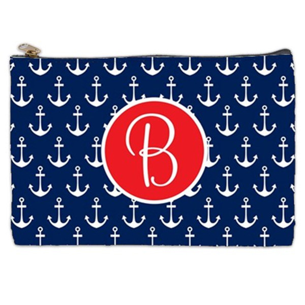 Customized Pencil Case Monogrammed  www.tinytulip.com Navy Anchor Pattern with Solid Circle Red Cursive Font