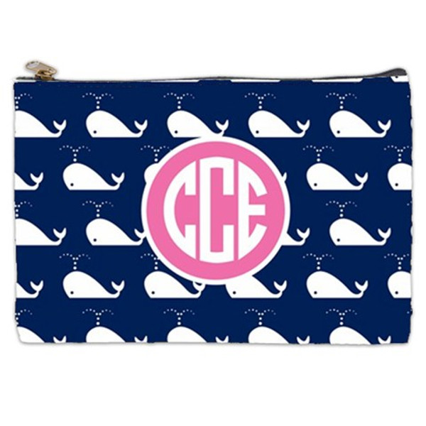 Customized Pencil Case Monogrammed  www.tinytulip.com Navy Whales Pattern with Solid Circle Preppy Pink Circle Font