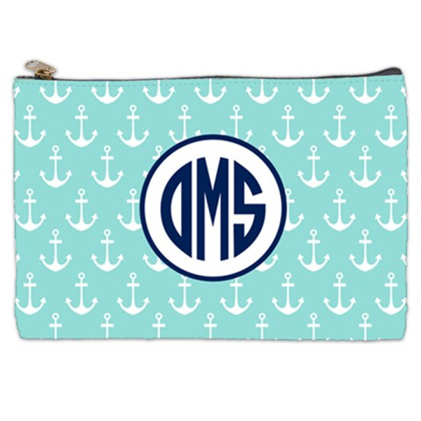 Customized Pencil Case Monogrammed  www.tinytulip.com Mint Anchor Pattern with Hollow Circle Navy Circle Font