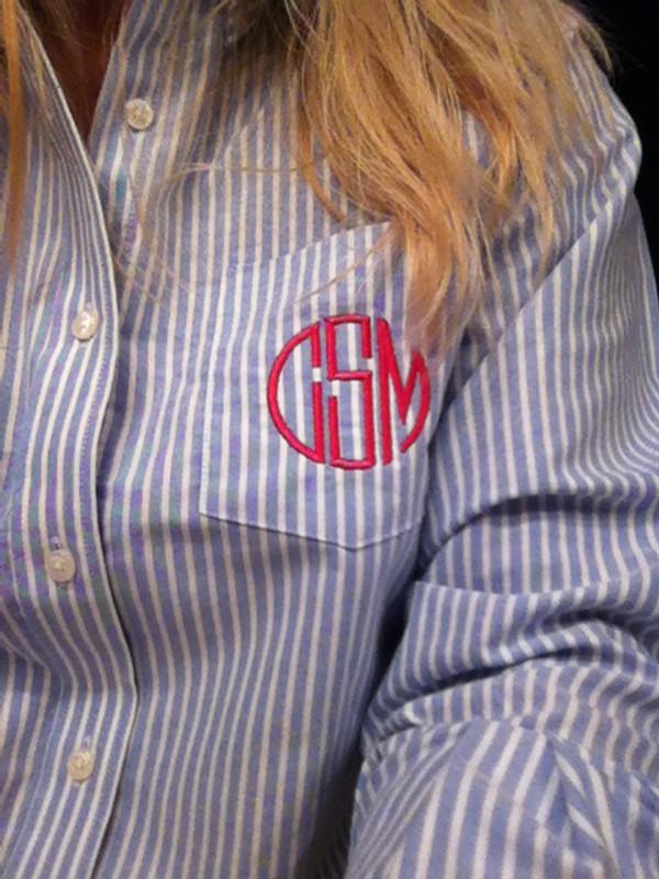 Monogrammed Oxford Blue Stripe Shirt  www.tinytulip.com Hot Pink Circle Font