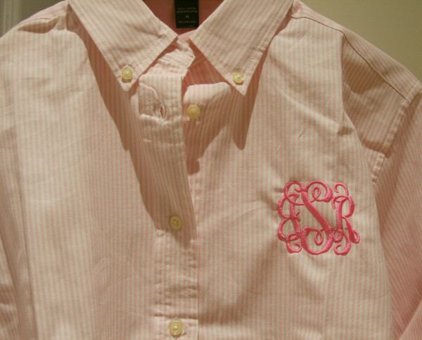 Monogrammed Oxford Stripe Shirt  www.tinytulip.com Pink Oxford with Preppy Pink Interlocking Font