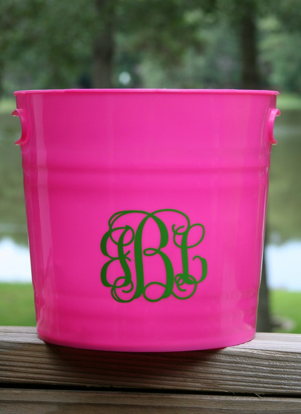 Monogrammed Plastic Bucket with Handles   www.tinytulip.com Hot Pink with Lime Green Interlocking Font