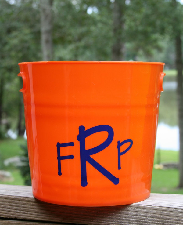 Monogrammed Plastic Bucket with Handles   www.tinytulip.com Orange with Royal Blue Block Font