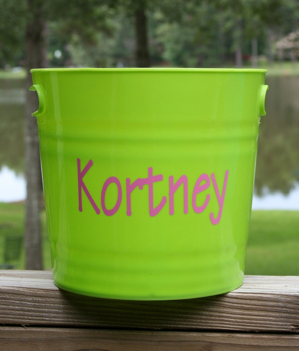 Monogrammed Plastic Bucket with Handles   www.tinytulip.com Lime Green with Pink Block Font